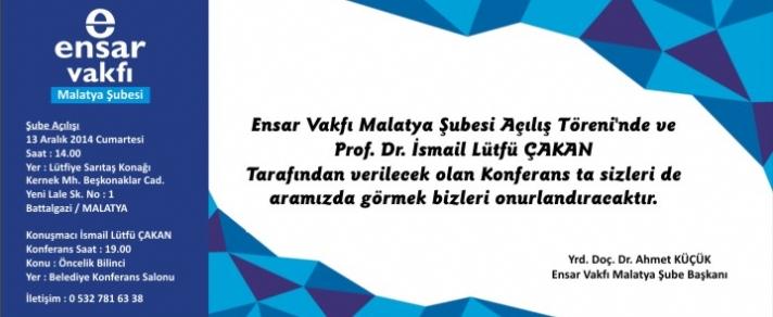 Ensar Vakfi Malatya Subesi Açilis Programi