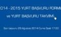 2014 - 2015 Yurt Başvuru Formu ve Yurt Başvuru Takvimi