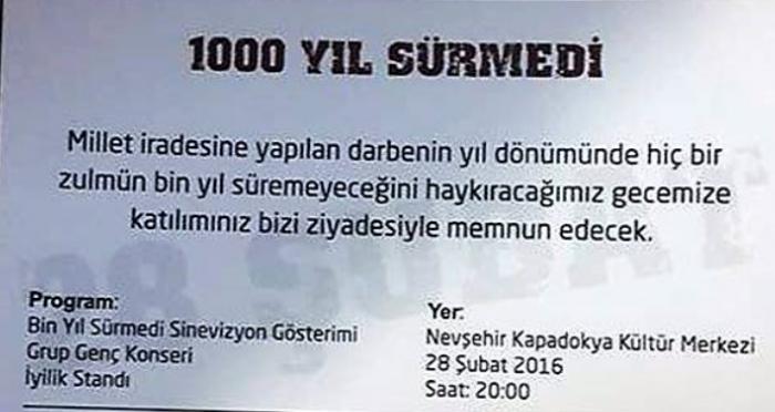 Nevşehir'de 'Hiçbir zulmün bin yıl sürmeyeceğinin haykırılacağı' program
