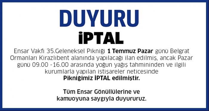 ENSAR VAKFI 35. GELENEKSEL KIR GEZİSİ İPTAL EDİLMİŞTİR!!